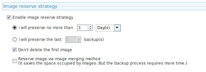 image reserve strategy for backups