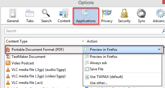 application settings for Firefox