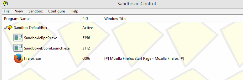 Sandboxie main window