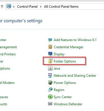 Accessing Folder Options from Control Panel