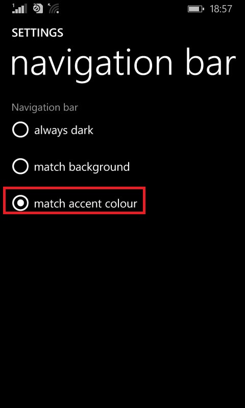 changing navigation bar color settings in Lumia
