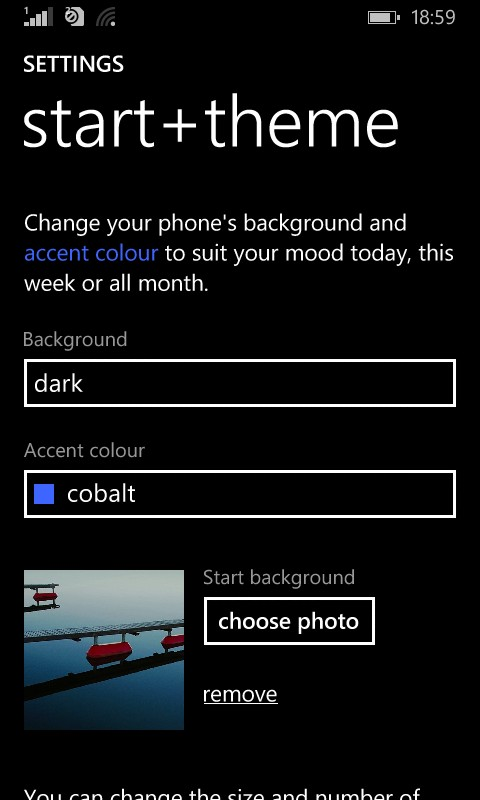 accent color in Lumia
