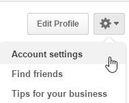 accessing account settings in Pinterest