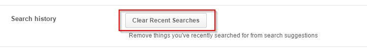 clearing recent searches in Pinterest