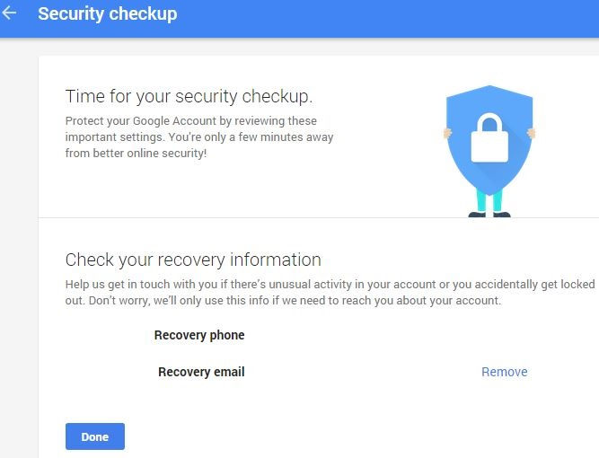 Google account recovery information settings