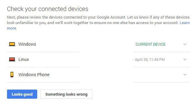 Connected devices and logins for Google account
