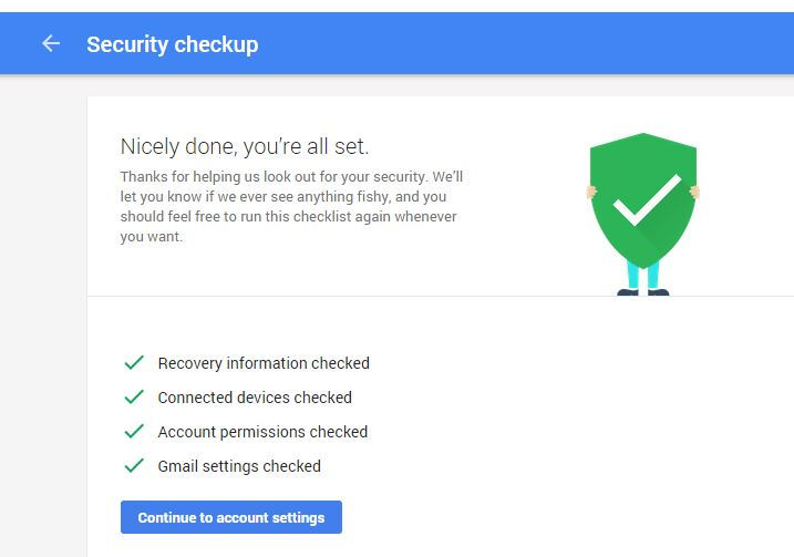list of online security items checked for Google account