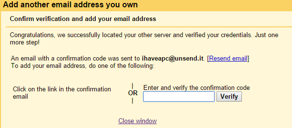 confirmation of unsend.it credentials in gmail