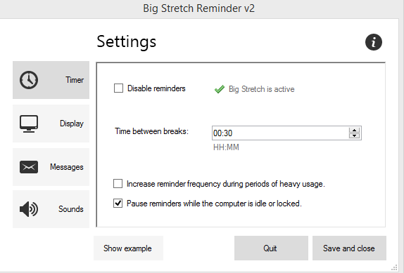 break interval settings in Big Stretch Reminder tool