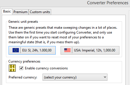 choosing currency conversion options in Converter add-on for Firefox