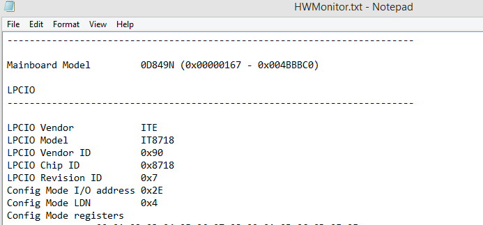 detailed text file with hardware information generated by HWMonitor