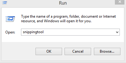 open snippingtool from run box in Windows 8