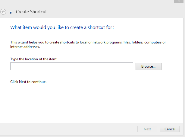 creating a shortcut for snippingtool in Windows 8