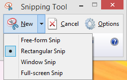 taking a screenshot using snipping tool
