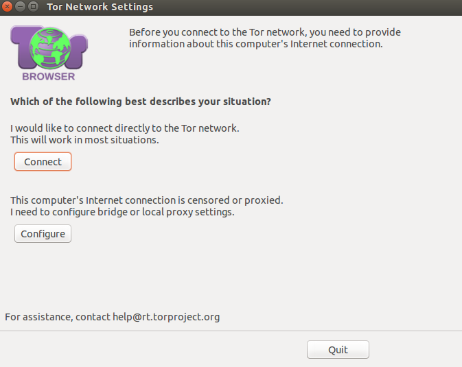 Choosing connection settings during Tor browser launch