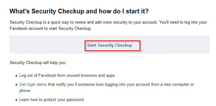 Facebook security checkup tool