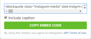 embed code for instagram images