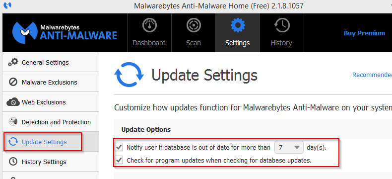 changing update settings in Malwarebytes