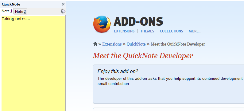 QuickNote as a sidebar in Firefox