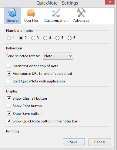 configuring general settings in QuickNote