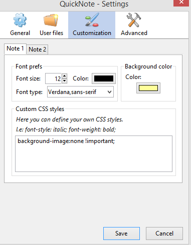 changing font type, color and other note preferences in QuickNote