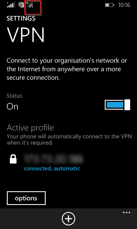 Windows phone with VPN enabled