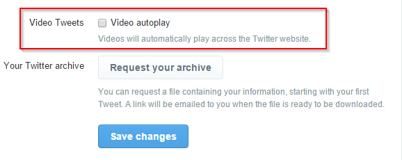 turn off autoplay for video tweets in Twitter