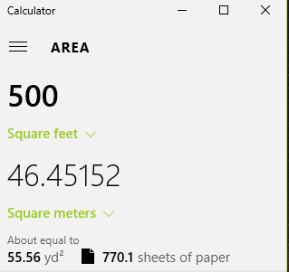 converting area measurements using windows 10 calculator