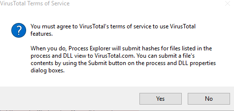 virus total tos for process explorer