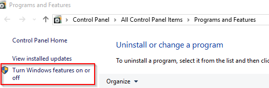 turning on or off windows features