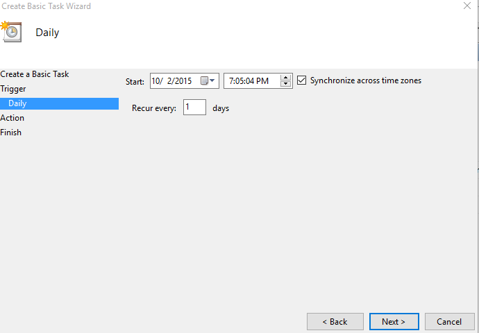 choosing start date and time for basic task in windows task scheduler
