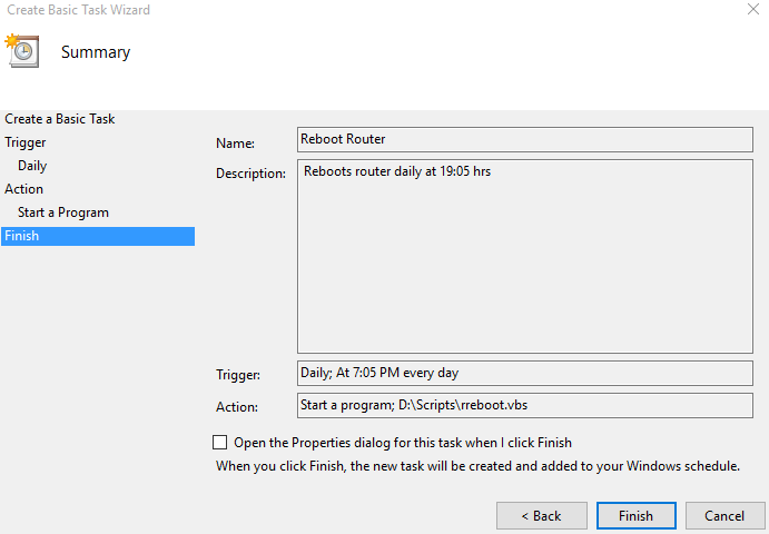 created task that auto reboots router in windows