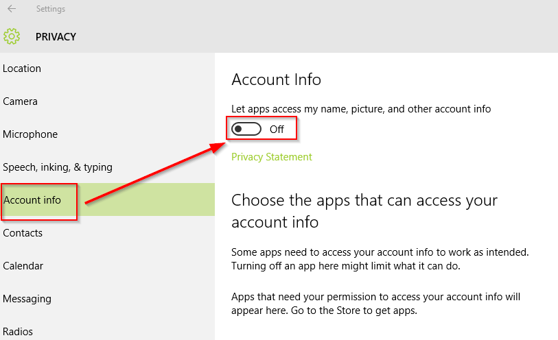 disable account info access for Windows 10 apps