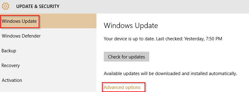 advanced options in windows 10 update settings