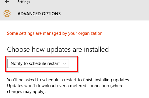 choosing a restart notification after windows 10 updates are installed