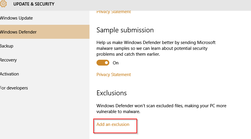 configuring exclusions in windows defender for windows 10