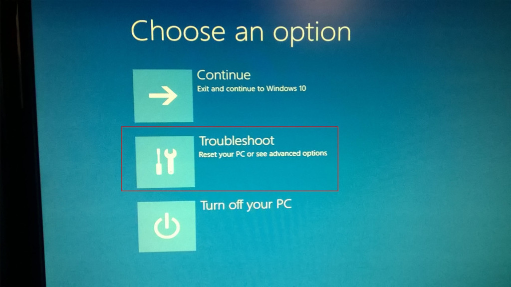 troubleshooting options in windows 10