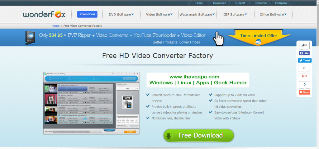 ihaveapc.com giveaway page for WonderFox HD Video Converter Factory