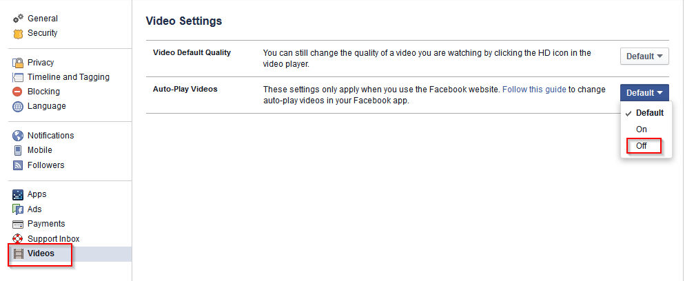 facebook video play settings
