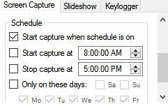 scheduling screenshots on specific days in auto screen capture