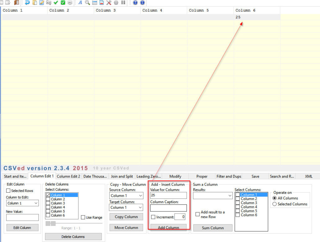 CSVEd user interface, adding new column with data