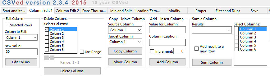 adding/editing/deleting columns in CSVEd