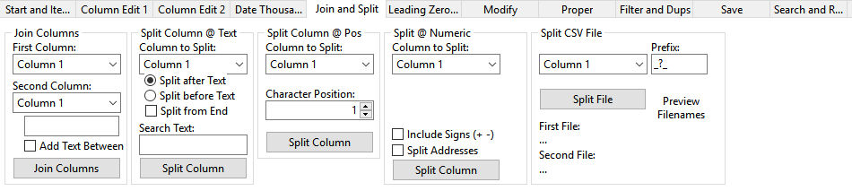 split and join data columns using CSVEd