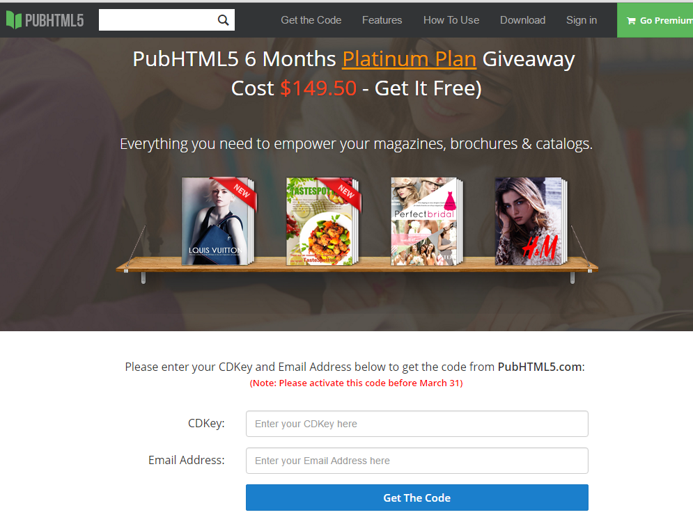 giveaway page for pubhtml5