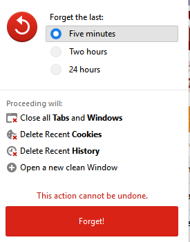 Forget button options for clearing history and deleting cookies