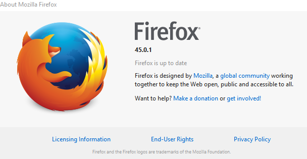 firefox version info