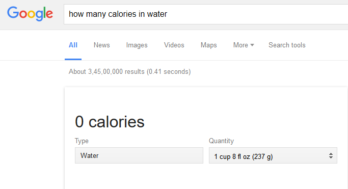 google search for calories in a glass of water