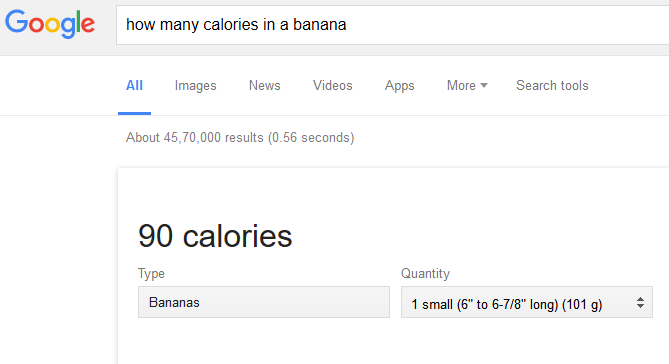 google search for calories in banana