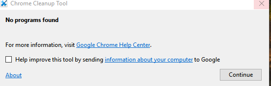 no problematic programs found during chrome cleanup tool scan