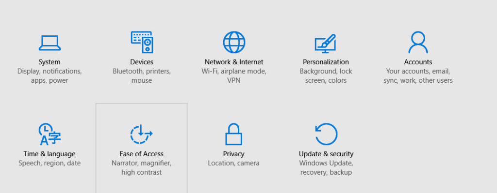 update & security options in Windows 10
